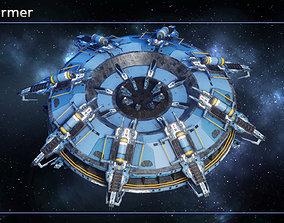 Spaceship Terraformer 3D model game-ready