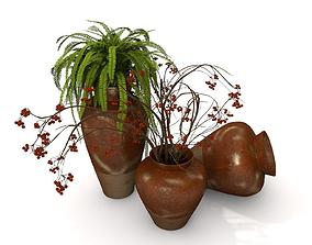 3D pot plant fern accessories