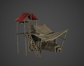 3D model Medieval Old Wood Bazaar Shop Low Poly Game Ready