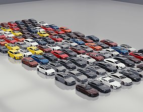BLENDER EEVEE Brandless 100 car collection volume 3D model