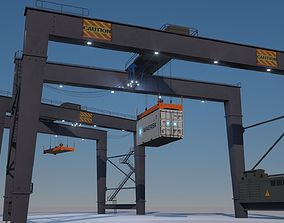 3D asset game-ready RTG Gantry Port Crane Low poly