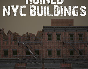 Ruined NYC Buildings 3D asset