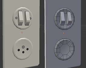 Switch and outlet of swiss type 3D model