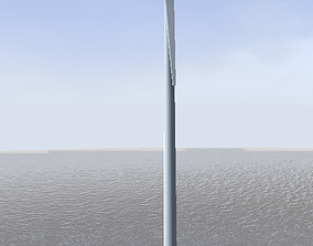 Offshore win turbine low-poly 3d model realtime