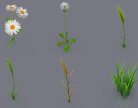 low-poly Plant Set 6 Pieces 3D Model