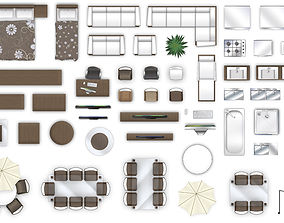 2d furniture floorplan view style-3 3D