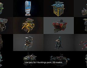Low poly Sci fi buildings pack 3D