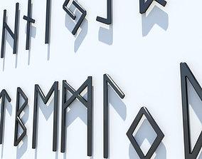 Runes Alphabet elder 3D