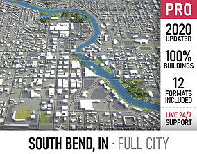 South Bend - Indiana - city and surroundings 3D asset