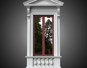 3D model Classical window with pedestal and pointed