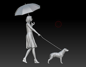 girl with a dog 3D print model