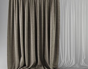 3D model Beige Curtains