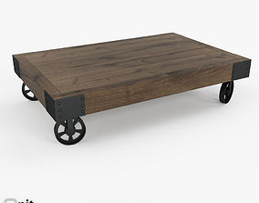 3D Vintage Factory Iron Wheel Coffee Table