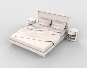 3D Luxury Bed white