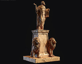 3D print model Old statue with two lions