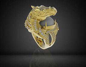 307 Diamond Horse Ring For Men 3D printable model