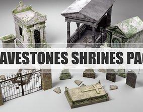 Gravestones Shrines Pack 3D model