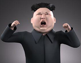 rigged Kim Dzong Un Cartoon rigged for 3dsMax