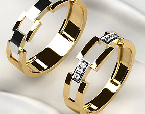 White Rhodium Wedding Rings 3D print model