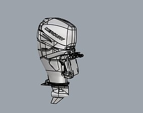 3D model Mercury Verado outboard 350 Hp engine
