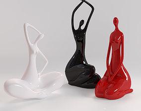 A set of statues of a lady 3D model