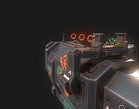 Low poly sci fi heavy pistol weapon asset game-ready
