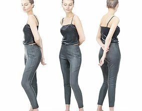 3D asset Casual Girl in Grey Pants and Black Top