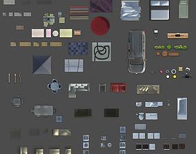 3D 2d furniture floorplan topview PSD