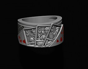 Pair of hearts playing cards ring 3D printable model