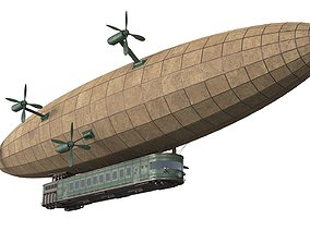 3D PBR cyberpunk Steampunk Airship