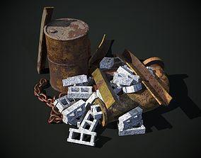 3D model Rusty Debris Pile environment prop PBR