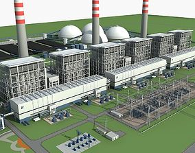 Power plant station 3D model energy