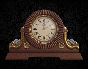 Table clock in classical style 3D model PBR
