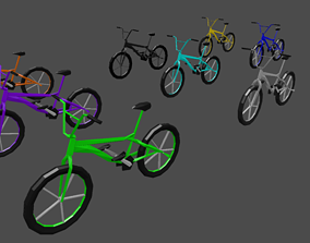 Bicycles 9 colors low poly style 3D asset