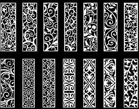 3D Arabic Mashrabiya Decorative Designs Panels Vector