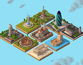 3D model Cartoon Low Poly Europe Landmarks Pack