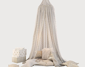 3D model Children canopy and decor in beige and golden