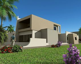 3D Modern house model two-story