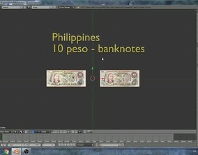 3D asset Philippines - 10 peso banknotes