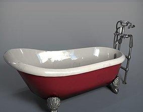 Red Antique Bathtub 3D model