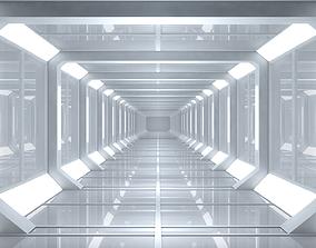3D model low-poly bin Sci Fi Corridor