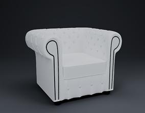3D MODERN WHITE CLUB CHAIR CHESTERFIELD