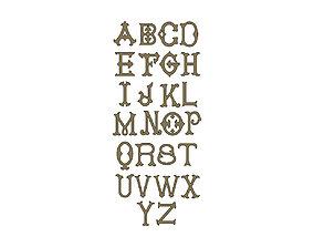 3D printable model Vintage Monogram Font Letters Alphabet