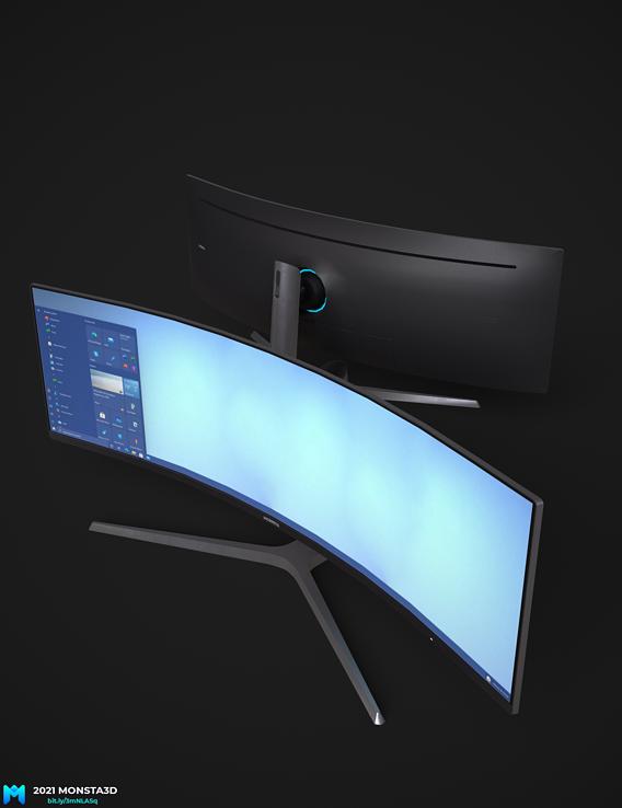 Samsung CHG90  gaming monitor pbr lowpoly
