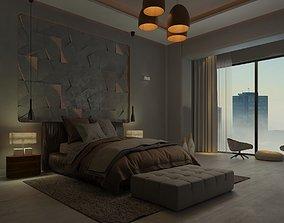 3D model modern gray bedroom design