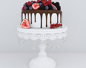 Berry cake blueberry 3D