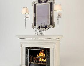 interior Antique Modern Fireplace 3D