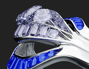 Twisted Diamond Engagement Ring 3D asset