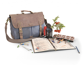 Canvas Leather Bag and School Stationery 3D model