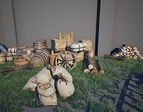 3D model low-poly Medieval Props Pack